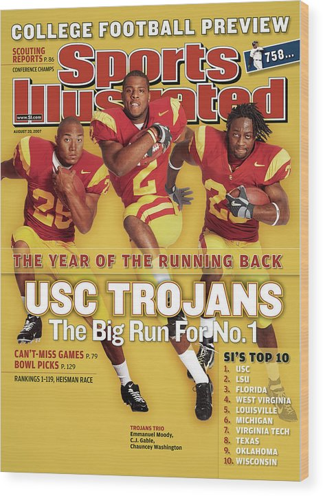 Magazine Cover Wood Print featuring the photograph Usc Emmanuel Moody, C.j. Gable, And Chauncey Washington Sports Illustrated Cover by Sports Illustrated