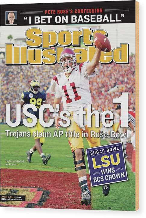 Magazine Cover Wood Print featuring the photograph Uscs The 1 Trojans Claim Ap Title In Rose Bowl Sports Illustrated Cover by Sports Illustrated