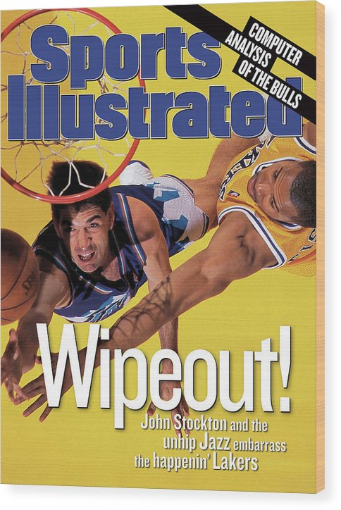 John Stockton Wood Print featuring the photograph Utah Jazz John Stockton, 1998 Nba Western Conference Finals Sports Illustrated Cover by Sports Illustrated