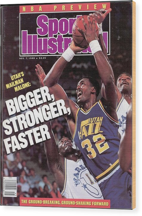 Ralph Sampson Wood Print featuring the photograph Utah Jazz Karl Malone, 1988 Nba Baseball Preview Sports Illustrated Cover by Sports Illustrated
