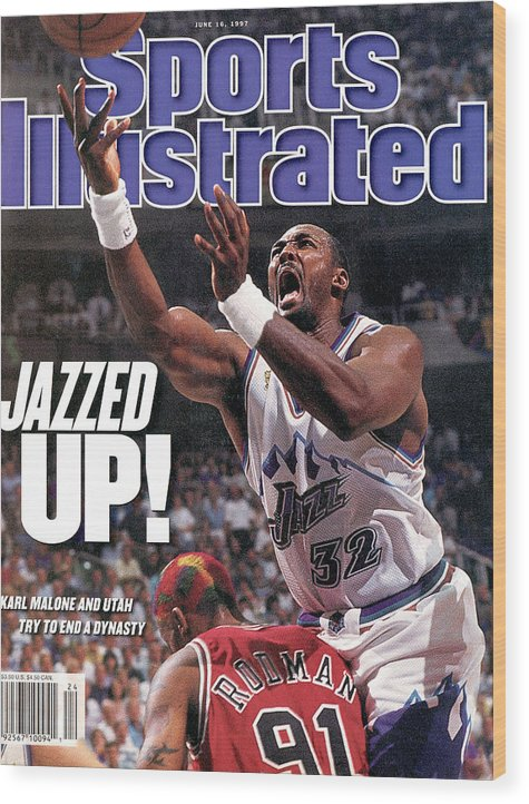 Chicago Bulls Wood Print featuring the photograph Utah Jazz Karl Malone, 1997 Nba Finals Sports Illustrated Cover by Sports Illustrated