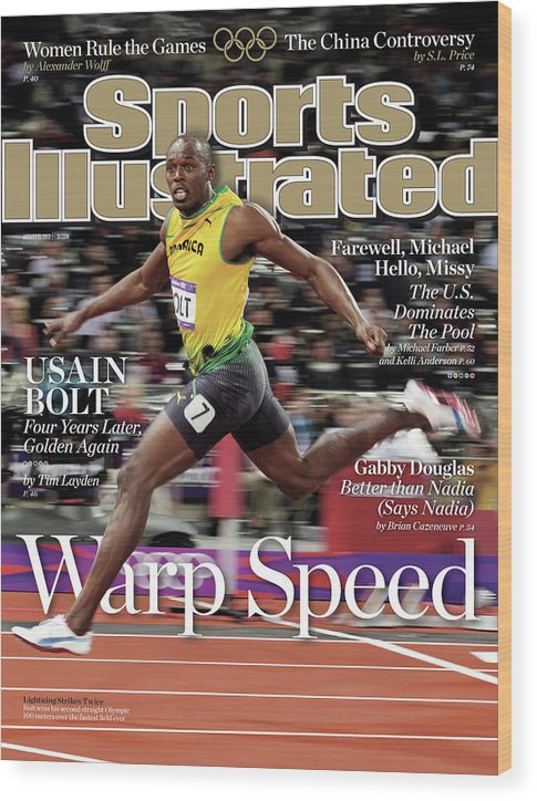 Magazine Cover Wood Print featuring the photograph Warp Speed 2012 Summer Olympics Sports Illustrated Cover by Sports Illustrated