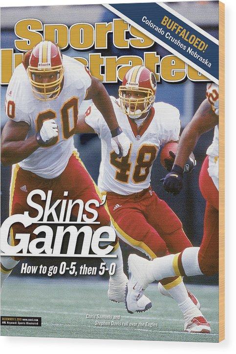Magazine Cover Wood Print featuring the photograph Washington Redskins Stephen Davis... Sports Illustrated Cover by Sports Illustrated