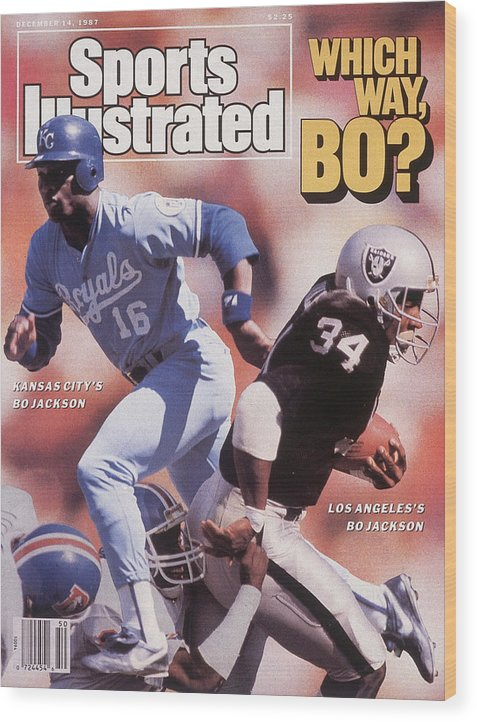 Magazine Cover Wood Print featuring the photograph Which Way Bo? Bo Jackson Of Kansas City Royals And Los Angeles Raiders Sports Illustrated Cover by Sports Illustrated
