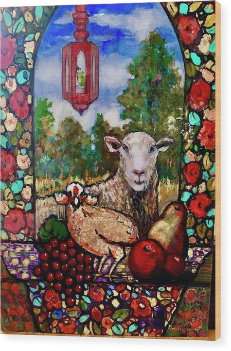 Sheep Wood Print featuring the painting Wild and Woolly by Marilene Sawaf
