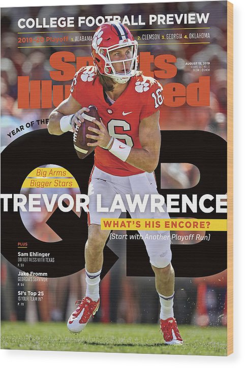 Wood Print featuring the photograph Year Of The Qb Clemson University Trevor Lawrence, 2019 Sports Illustrated Cover by Sports Illustrated
