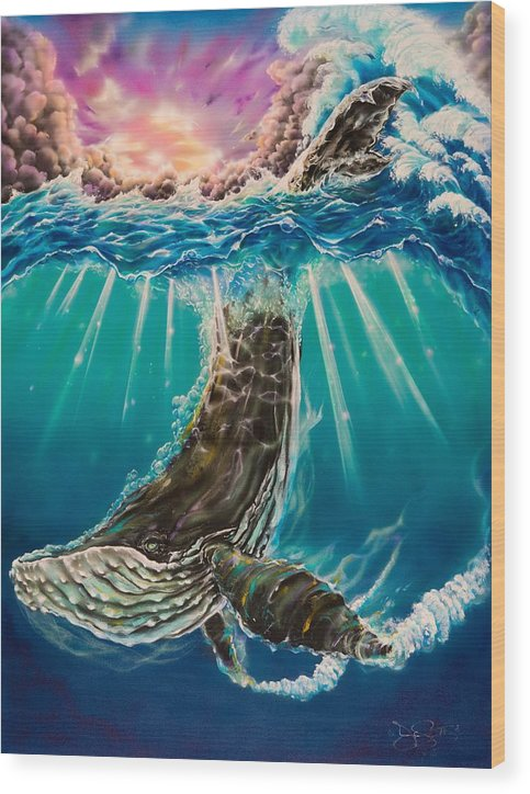 Aloha Wood Print featuring the painting The Dive by Joel Salinas III