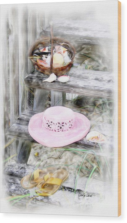 Tropical Beach Shells Seashore Wood Print featuring the painting Back From the Beach by Carolyn Staut