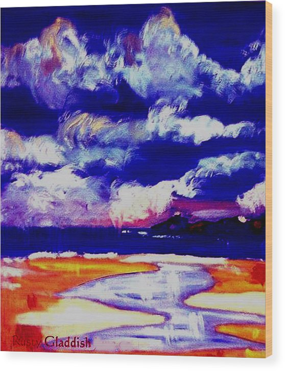 Seascape Wood Print featuring the painting Nimbus Clouds Over Mumbles by Rusty Gladdish