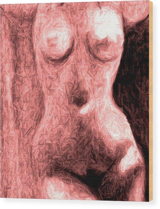 Erotica Female Figure Sexy Wood Print featuring the painting Venus In My Room by Cartoon Hempman