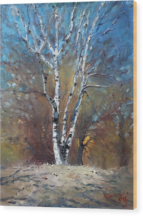 Birch Trees Wood Print featuring the painting Birch Trees by Ylli Haruni