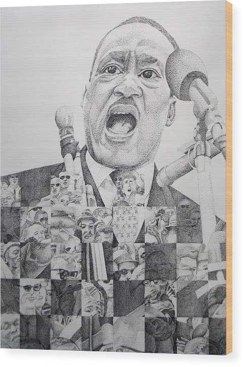 Martin Luther King Wood Print featuring the drawing Martin Luther King-i Have A Dream by Joshua Morton