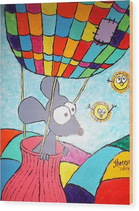 Mouse Wood Print featuring the painting Mouse In Balloon by Theresa Shaw