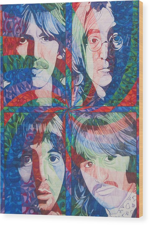 The Beatles Wood Print featuring the drawing The Beatles Squared by Joshua Morton
