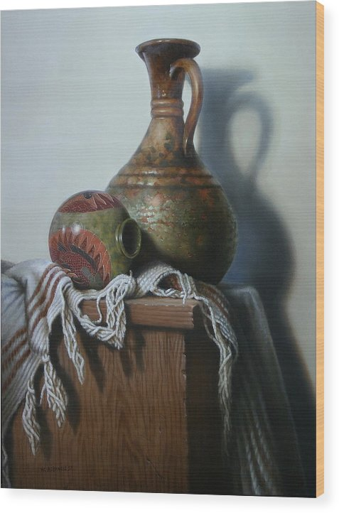 Still-life Wood Print featuring the painting Vessels by William Albanese Sr
