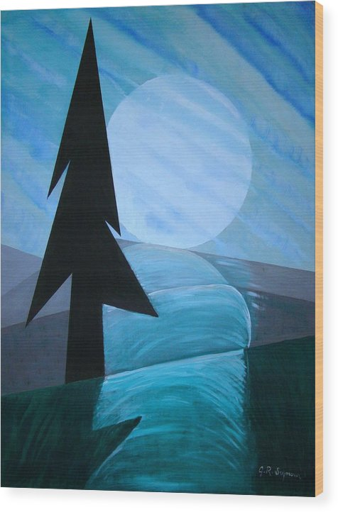 Phases Of The Moon Wood Print featuring the painting Reflections On The Day by J R Seymour