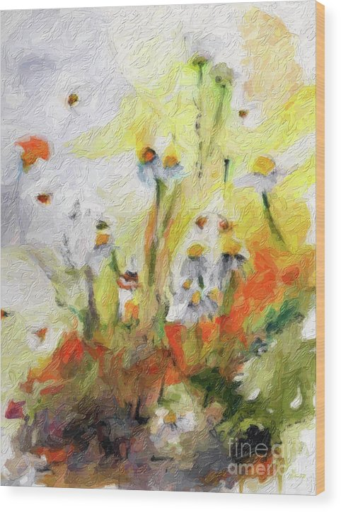 Flower Paintings Wood Print featuring the digital art Chamomile Flowers Digital Impressionism Art by Ginette Callaway