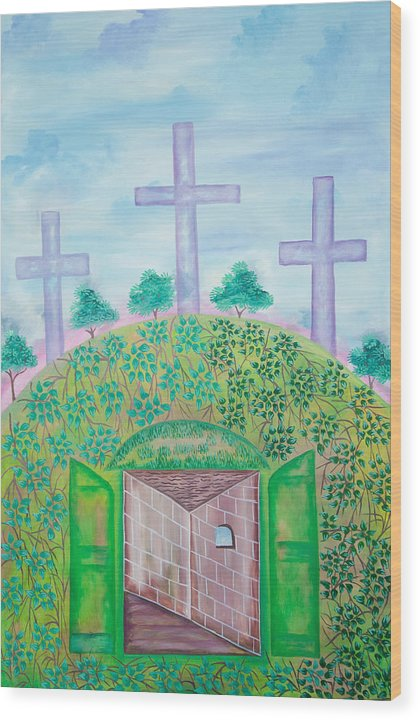 Wood Print featuring the drawing Church by Volmar Etienne
