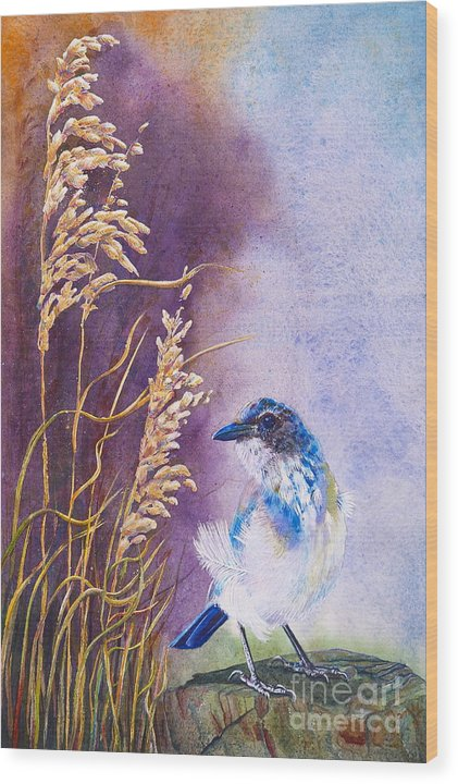 Scrub Jay Wood Print featuring the painting Bad Feather Day by Jany Schindler