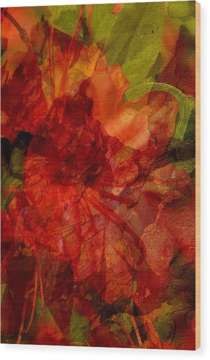 Abstract Wood Print featuring the digital art Blood Rose by Tom Romeo
