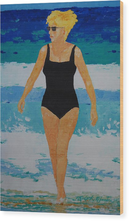 Beach Art Wood Print featuring the painting I Got A Woman by Art Mantia