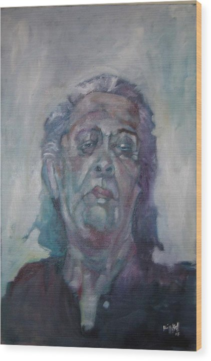 Portrait Figure Wood Print featuring the painting Old Mary by Kevin McKrell