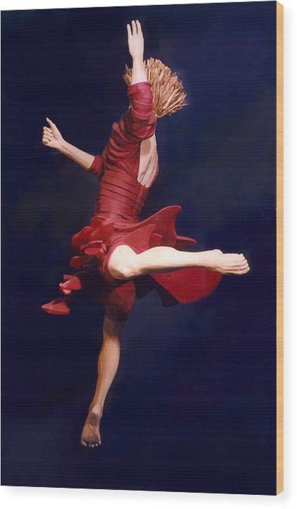 Dance Wood Print featuring the sculpture Red Dancer Back View by Gordon Becker