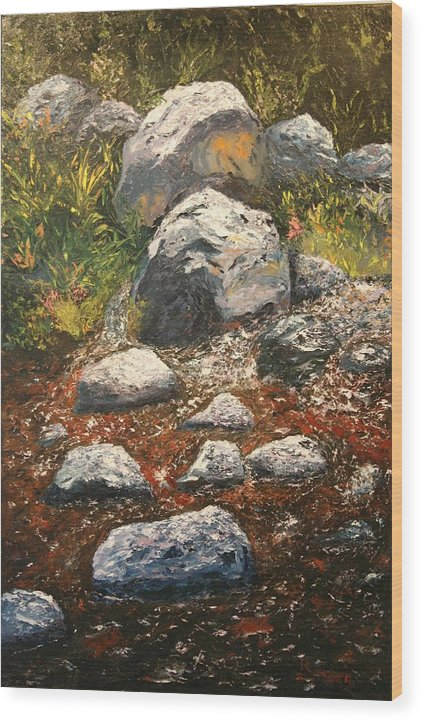 Landscape Wood Print featuring the painting Woodland Stream by Robert Tower
