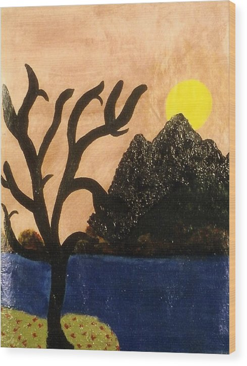 Landscape Wood Print featuring the painting Silent by Ruth El