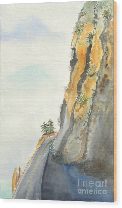 Rocky Point Wood Print featuring the painting Big Sur Highway One by Susan Lee Clark