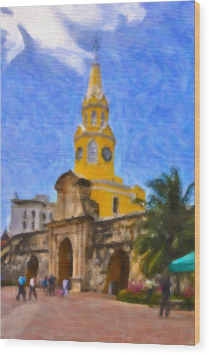 Church Wood Print featuring the photograph La Torre Del Reloj by Peter Santos