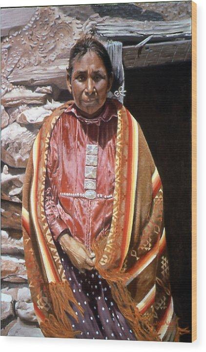 Navajo Indian Southwestern Monument Valley Wood Print featuring the painting Genesis by John Watt