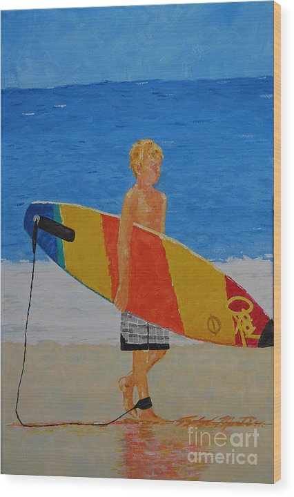 Beach Art Wood Print featuring the painting In Search Of A Ride by Art Mantia