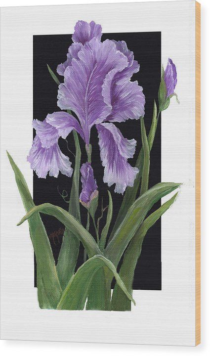 Paining Wood Print featuring the painting Iris One by Marveta Foutch
