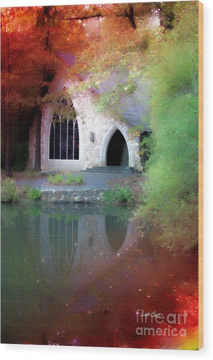 Landscape Fall Church Trees Reflection Sacred Wood Print featuring the painting Sacred Silence by Carolyn Staut