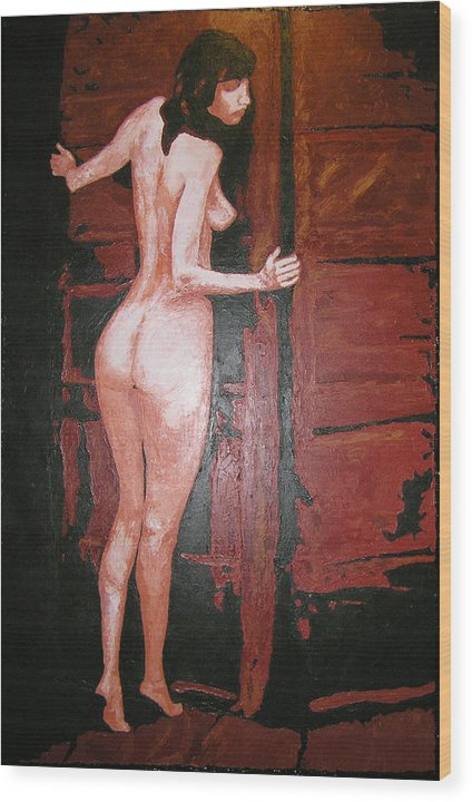 Portrait Wood Print featuring the painting Secret by Ricklene Wren