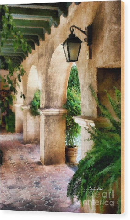 Landscape Buildings Tropical Southwestern Wood Print featuring the painting Spiritual Pathway by Carolyn Staut