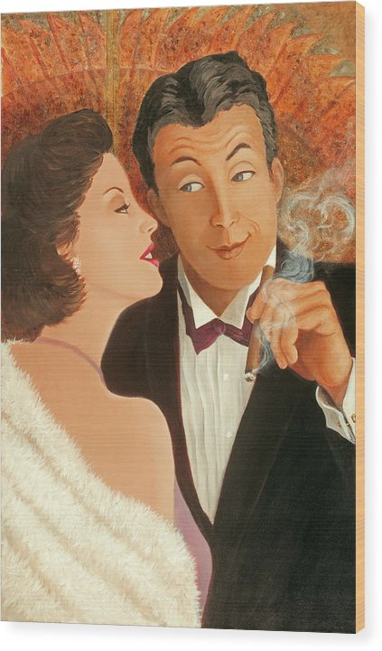 Art Deco Wood Print featuring the painting Sweet Talk by Susan Rinehart