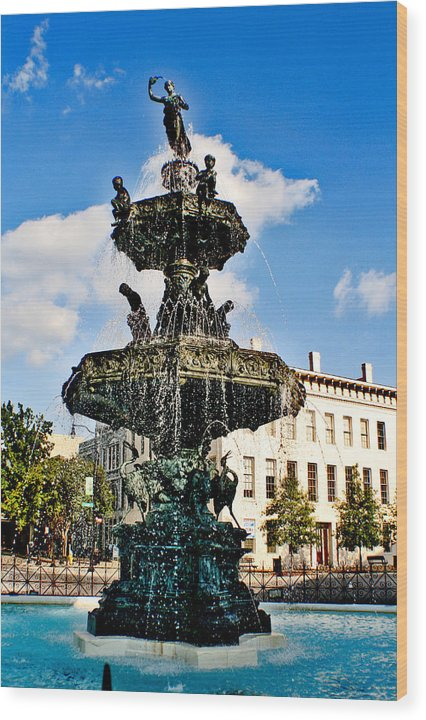 Fountain Wood Print featuring the photograph The Town Square by Greg Sharpe