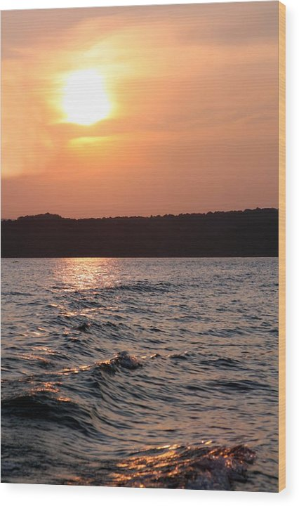 Sunset Wood Print featuring the photograph Waves On Greers Ferry Lake by Kenna Westerman