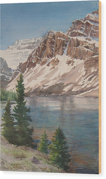Bow Lake Wood Print featuring the painting Bow Lake Alberta by Debbie Homewood