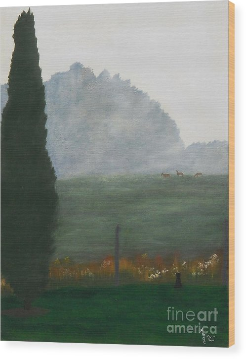 Landscape Wood Print featuring the painting In The Morning Mist by Heather Chandler