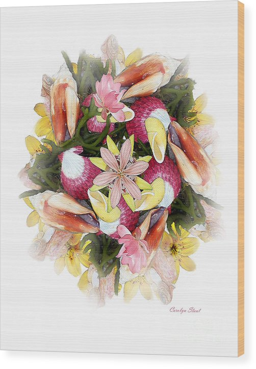 Shells Wood Print featuring the digital art Fragrant Seabreeze by Carolyn Staut