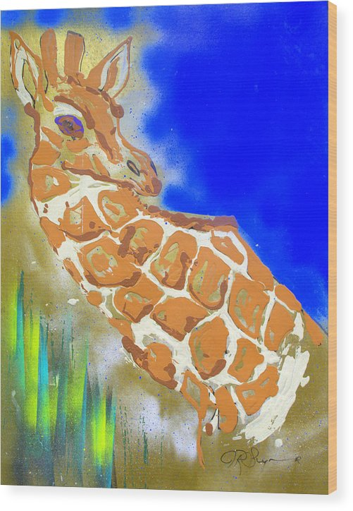 Impressionist Painting Wood Print featuring the painting Giraffe by J R Seymour