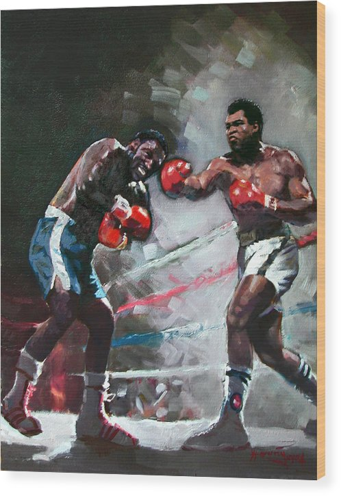 Muhammad Ali Wood Print featuring the painting Muhammad Ali And Joe Frazier by Ylli Haruni