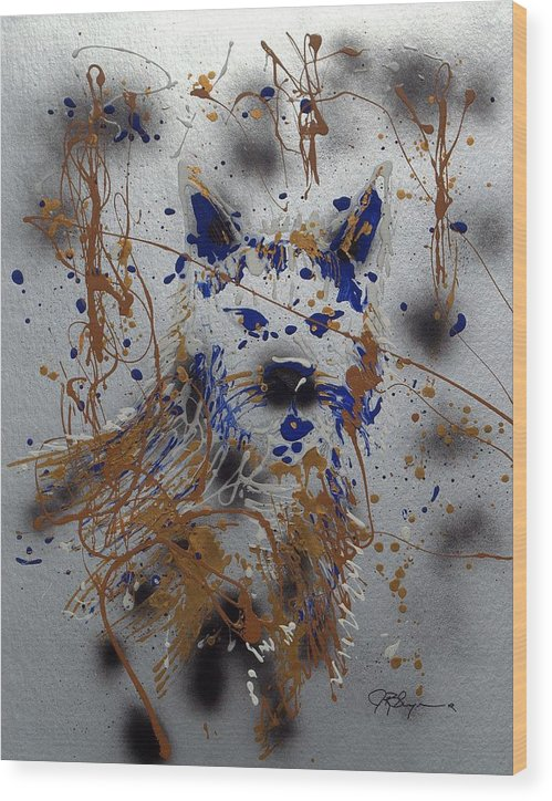 Impressionist Painting Wood Print featuring the mixed media The Lone Wolf Canis Lupus by J R Seymour
