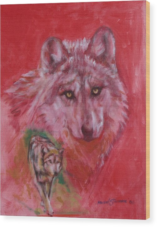 Bbkexperi Wood Print featuring the painting Wolf by Howard Stroman