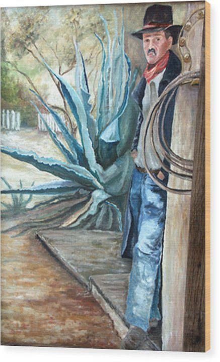 Cowboy Wood Print featuring the painting Cowboy by CJ Rider