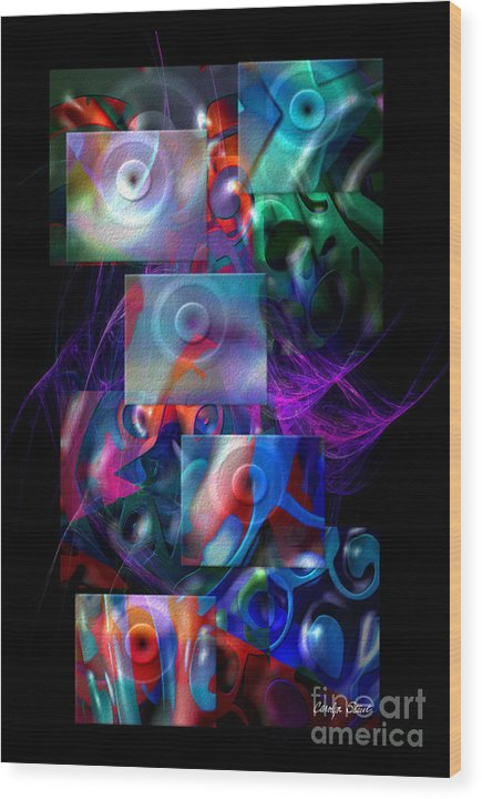 Abstract Color Abstract Realism Wood Print featuring the digital art Get It In Gear by Carolyn Staut
