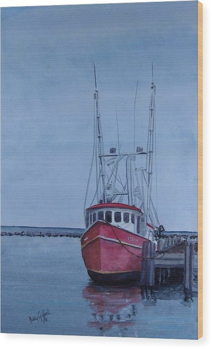 Fishing Trawler Wood Print featuring the painting Provincetown Portuguese by Haldy Gifford
